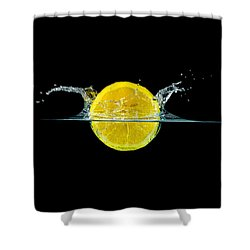 Splashing Lemon Shower Curtain by Peter Lakomy