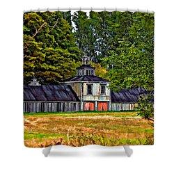 5 Star Barn Paint Filter Shower Curtain by Steve Harrington