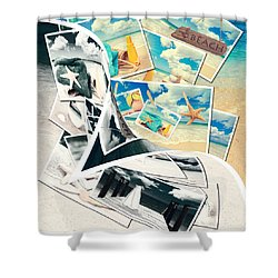 Summer Postcards Shower Curtain by Amanda Elwell