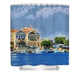 Symi Island Shower Curtain