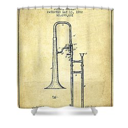 Trombone Patent From 1902 - Vintage Shower Curtain by Aged Pixel