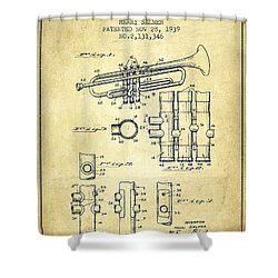 Trumpet Patent From 1939 - Vintage Shower Curtain