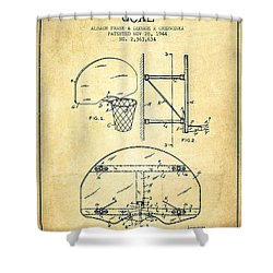 Vintage Basketball Goal Patent From 1944 Shower Curtain by Aged Pixel