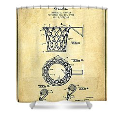 Vintage Basketball Goal Patent From 1951 Shower Curtain by Aged Pixel