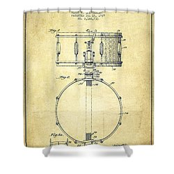 Snare Drum Patent Drawing From 1939 - Vintage Shower Curtain by Aged Pixel