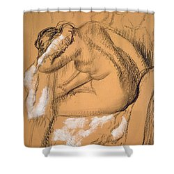 Woman Drying Herself  Shower Curtain by Edgar Degas