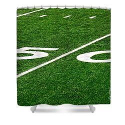 50 Yard Line On Football Field Shower Curtain by Paul Velgos