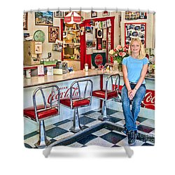 50s American Style Soda Fountain Shower Curtain by David Smith
