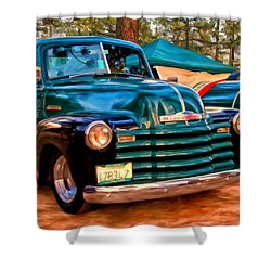'51 Chevy Pickup With Teardrop Trailer Shower Curtain by Michael Pickett