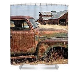 '54 Chevy Put Out To Pasture Shower Curtain