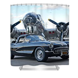 1957 Chevrolet Corvette Shower Curtain by Jill Reger