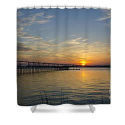 Arthur Ravenel Bridge Tranquil Sunset Shower Curtain by Dale Powell