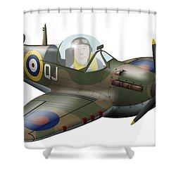 Cartoon Illustration Of A Royal Air Shower Curtain by Inkworm