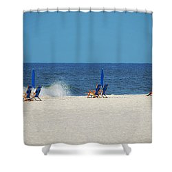 6 Chairs And Umbrella Shower Curtain by Michael Thomas