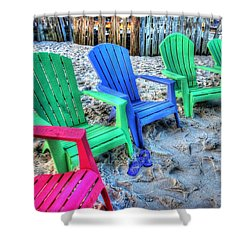 6 Chairs Shower Curtain by Michael Thomas