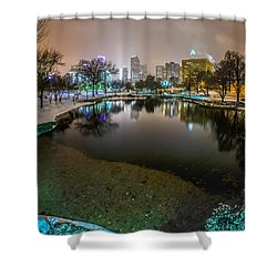 Charlotte Nc Skyline Covered In Snow In January 2014 Shower Curtain