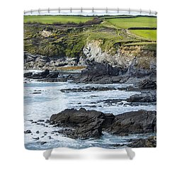 Cornish Seascape Gunwalloe Shower Curtain by Brian Roscorla