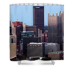Downtown Skyline Of Pittsburgh Pennsylvania Shower Curtain by Bill Cobb