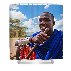 Maasai Man Portrait In Tanzania Shower Curtain by Michal Bednarek