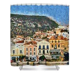 Mytilini Port Shower Curtain by George Atsametakis