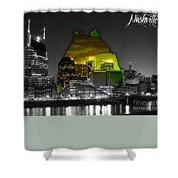 Nashville Skyline And Map Watercolor Shower Curtain by Marvin Blaine