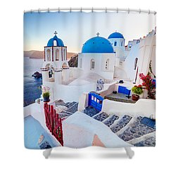 Oia Town On Santorini Greece Shower Curtain