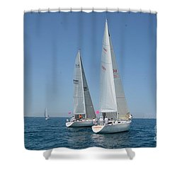 Sailboat Race Shower Curtain by Randy J Heath