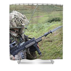 Welsh Guards Training Shower Curtain by Andrew Chittock