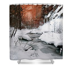 16x20 Canvas - West Fork Snow Shower Curtain by Tam Ryan