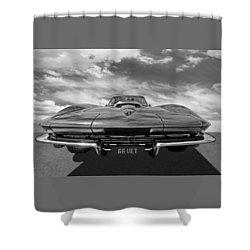 66 Vette Stingray In Black And White Shower Curtain