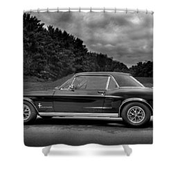 67 Mustang Black And White Shower Curtain
