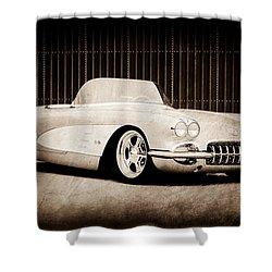 Shower Curtain featuring the photograph 1960 Chevrolet Corvette by Jill Reger