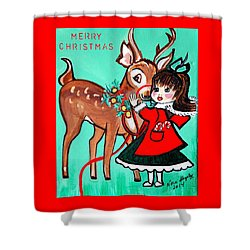 Little Girl With Reindeer Shower Curtain