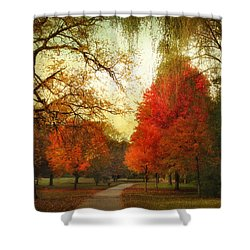 Shower Curtain featuring the photograph Autumn Promenade by Jessica Jenney