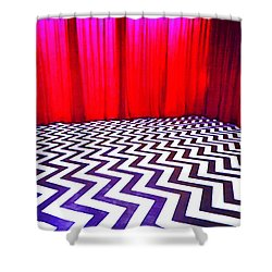 Shower Curtain featuring the painting Black Lodge by Luis Ludzska
