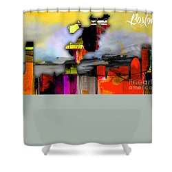 Boston Map And Skyline Watercolor Shower Curtain by Marvin Blaine