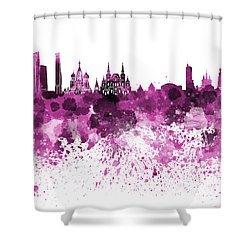 Moscow Skyline White Background Shower Curtain