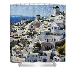 Oia Town Shower Curtain