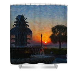 Pineapple Fountain At Dawn Shower Curtain