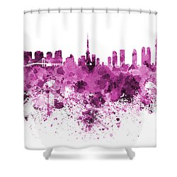 Tokyo Skyline In Watercolor On White Background Shower Curtain