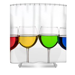 Colorful Wine Glasses Shower Curtain