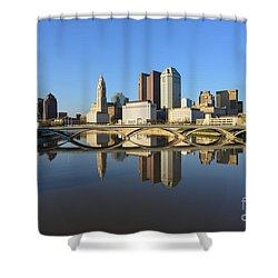 Fx1l-1058 Columbus Ohio Skyline Photo Shower Curtain