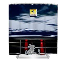 Ferrari Hood Emblem Shower Curtain by Jill Reger