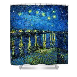 Shower Curtain featuring the painting Starry Night Over The Rhone by Vincent van Gogh