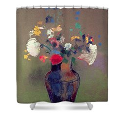 Vase Of Flowers Shower Curtain by Odilon Redon