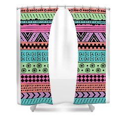 80s Fish Surfboard Shower Curtain by Susan Claire