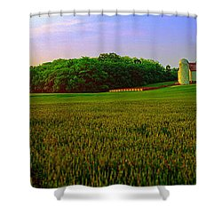 Conley Rd Spring Pasture Oaks And Barn  Shower Curtain