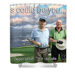 Shower Curtain featuring the painting 8th Hole Pebble Beach by Tim Gilliland