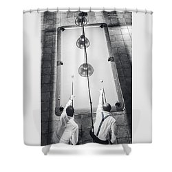 Shower Curtain featuring the photograph 9 Ball Lag by Stwayne Keubrick