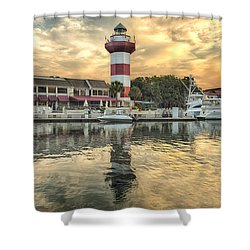 Lighthouse On Hilton Head Island Shower Curtain by Peter Lakomy